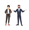 grumpy female boss and male employee isolated vector image vector image