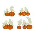 halloween pumpkins and ghosts vector image
