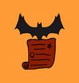 halloween scene cute bat flying poster or card vector image
