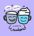 happy weekend coffee cup cartoon vector image vector image