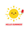 hello summer card with sun vector image vector image