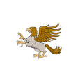 Hippogriff Prancing Side Isolated Cartoon vector image vector image