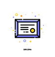icon of diploma with gold seal for success vector image