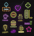 light neon light hotels and restaurants promotion vector image