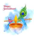 lord krishna playing bansuri flute in happy vector image