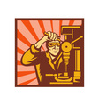 Male trade worker operating a bench drill vector image vector image