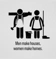 men make houses women make homes a motivational vector image vector image