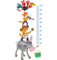 Meter wall with funny Bremen Town Musicians vector image vector image