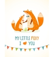Mother or Father Fox and Foxy Child Cartoon vector image vector image