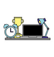office lamp computer trophy and clock vector image vector image