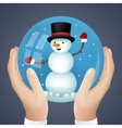 Realistic Hand Holding Cristmas Winter New Year vector image vector image
