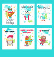 set of cards with cute skiing animals vector image vector image