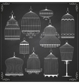 set silhouettes birdcages vector image vector image