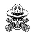skull boy scout with flashlights vector image