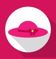sun hat pink color with bow flat icon with long vector image
