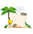 Tropical island with bird and scroll for text vector image