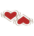 Two calligraphic hearts vector image vector image