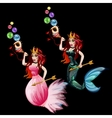 Two Queen mermaid with seashell and gold arrows vector image vector image