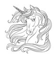 unicorn head coloring book page vector image