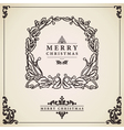 Vintage Christmas card wreath vector image vector image