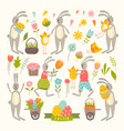 vintage elements set of easter theme vector image vector image