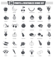 Fruits and vegetables black icon set Dark vector image