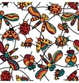 Pattern with funny ladybugs dragonflies insects vector image