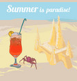 colorful drawing summer vacation template vector image