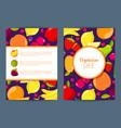 flat fruits vegan card brochure flyer vector image