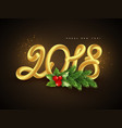 3d golden numeric 2018 vector image vector image