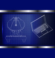3d model of an antenna and laptop vector image vector image
