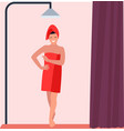 a woman taking shower in bathroom vector image