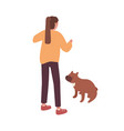 active female pet owner training her dog vector image vector image