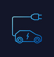 all-electric car with plug blue line icon vector image vector image