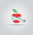 apple and centimeter isolated icon vector image vector image
