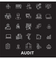 audit editable line icons set on black vector image vector image
