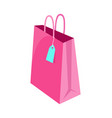bag of pink color with label vector image vector image