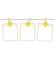 Blank Photos with Yellow Flowers on Clothesline vector image vector image