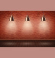 brick wall room with vintage lamps vector image vector image