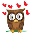 brown owl in a green branch with red hearts on vector image