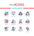 business training - line design style icons set vector image