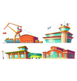 cartoon icons of bus station airport sea port vector image