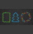 christmas light garland frames in round square vector image