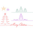 christmas trees one single line drawing vector image