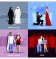 Couples 2x2 Flat Icons Set vector image vector image