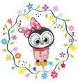 cute penguin girl in a flowers frame vector image vector image
