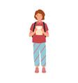 cute preschool girl holding notebook portrait vector image vector image
