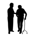 disabled man walking with woman vector image