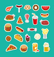 fast food sticker set signs of feed icon vector image vector image