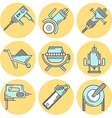 Flat line colored icons for construction equipment vector image vector image